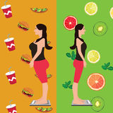 Girl before and after diet change food from unhealthy to fresh fruits. Girl before and after diet change food from unhealthy to fresh and fruits vector Royalty Free Stock Photo