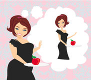 Girl on a diet holding a plate with an apple Stock Photography