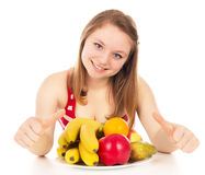 Girl on a diet, joy fruit. Isolated on white background Stock Image