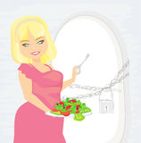 Girl on a diet. Refrigerator with chain and lock Royalty Free Stock Image
