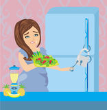 Girl on a diet - Refrigerator with chain and lock stock illustration