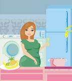 Girl on a diet - Refrigerator with chain and lock. Illustration Royalty Free Stock Photo