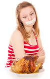 The girl on a diet, and want to eat meat Stock Photo
