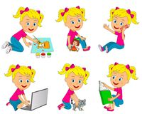 Girl different activities Royalty Free Stock Photos