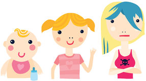 Girl at Different Ages Sequence Royalty Free Stock Photo