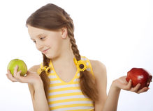 Girl with different apples Royalty Free Stock Image