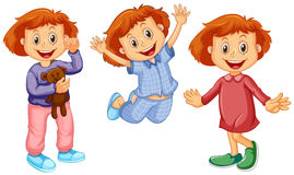 Girl in different clothes Stock Images