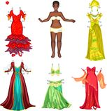 Girl with different dresses Royalty Free Stock Image