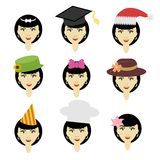 Girl in different headdresses. On white Royalty Free Stock Photography