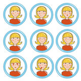 Girl in different mood, set. Vector illustration Stock Illustration