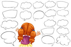Girl and different shapes of speech bubbles. Illustration Royalty Free Stock Photos