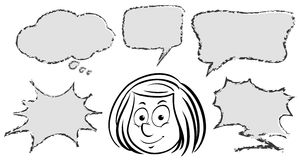 Girl with different speech bubble templates Royalty Free Stock Photo