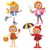 Girl in different times of year. On white background Stock Photos