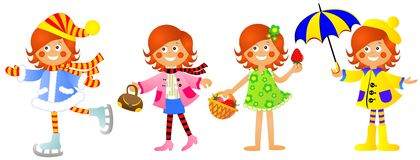 Girl at different times years. Girl at different times of year Stock Photo