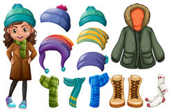Girl and different types of winter clothes Royalty Free Stock Images