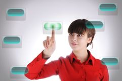 Girl with digital buttons Royalty Free Stock Photography