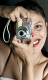 Girl with digital camera Royalty Free Stock Image