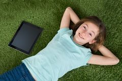 Girl With Digital Tablet And Mobile Phone Stock Images
