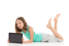 Girl with digital tablet Stock Photography