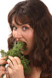 Girl and dill Royalty Free Stock Photography