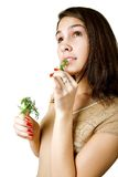 Girl with dill Royalty Free Stock Image