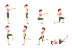 Girl Dioing Exercise on White Background Vector Illustration EPS. 10 Royalty Free Stock Photos