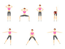 Girl Dioing Exercise on White Background Vector Illustration EPS. 10 Stock Image