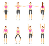Girl Dioing Exercise on White Background Vector Illustration EPS. 10 Royalty Free Stock Photography