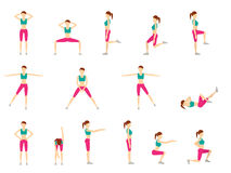 Girl Dioing Exercise on White Background Vector Illustration EPS. 10 Stock Photo
