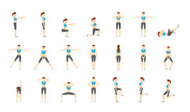 Girl Dioing Exercise on White Background Vector Illustration EPS. 10 Royalty Free Stock Images