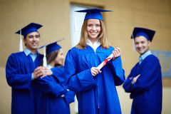 Girl with diploma Stock Photo