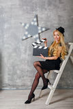 Girl director with clapperboard Royalty Free Stock Image