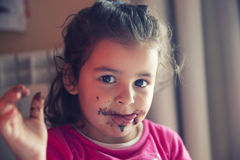 Girl with dirty mouth Stock Photos