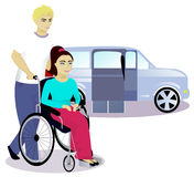 Girl with disabilities in a wheelchair and boy, car with a ramp on background Royalty Free Stock Image