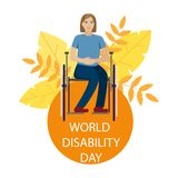The girl is disabled in a wheelchair. World disability day. vector illustration