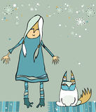 Girl with disaffected cat. Winter illustration of cute girl and disaffected cat. Design elements Vector Illustration