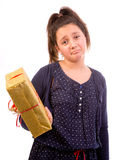 Girl disappointed over gift Royalty Free Stock Photography