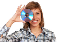 Girl with disc Stock Image