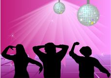 Girl in disco. Girls in disco on pink Royalty Free Stock Photography