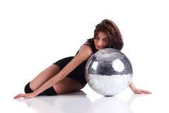 Girl with disco ball Stock Photography