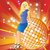 Girl and a disco ball. Royalty Free Stock Photography
