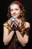 Girl with disco ball Royalty Free Stock Image