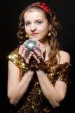 Girl with disco ball. Sexy girl with disco ball Royalty Free Stock Image