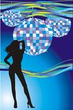 Girl and disco balls. Vector illustration Stock Image