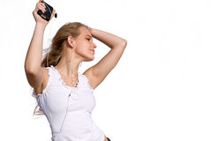 Girl disco dancing with mp3 stock photography