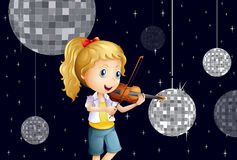 A girl at the disco house playing with the violin Stock Images