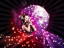 Girl on Disco party Royalty Free Stock Images