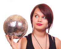 Girl with discoball Stock Images