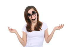 Girl with Disguise Stock Images