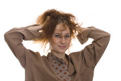 Girl with disheveled hair Royalty Free Stock Photography